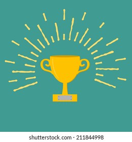 Winner gold cup trophy. Award symbol in flat design style. Ray of lights.
