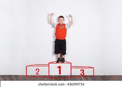 winner on a podium