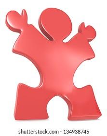 Winner. Puzzle People the winner celebrating. Red.
