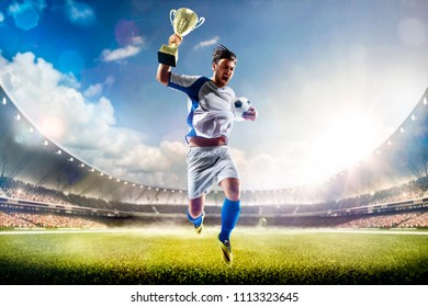 Winner of soccer cup celebrates the victory