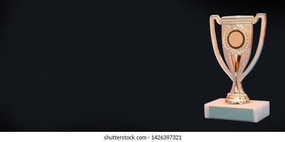 Winner Trophy award banner, Success concept on black background,
