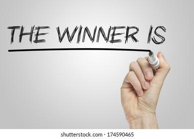 The winner is written on a white board