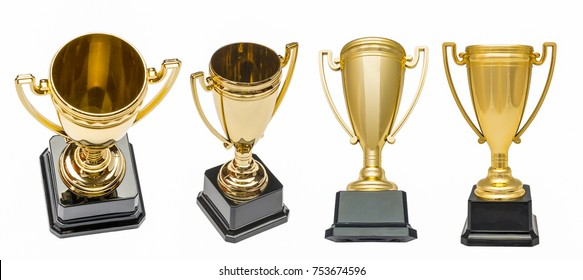Winners gold cups. Set of golden bowls champion award trophy. Isolated on white