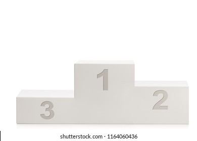Winner's pedestal for first second and third place isolated on white background