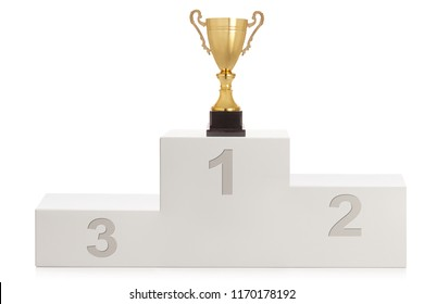 Winner's pedestal for first second and third place with a gold trophy cup isolated on white background