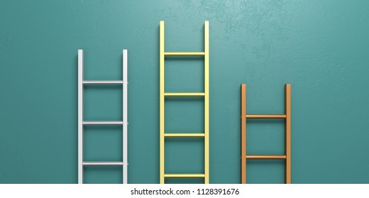 Winners podium concept. Metal ladders leaning against a green painted wall. 3d illustration