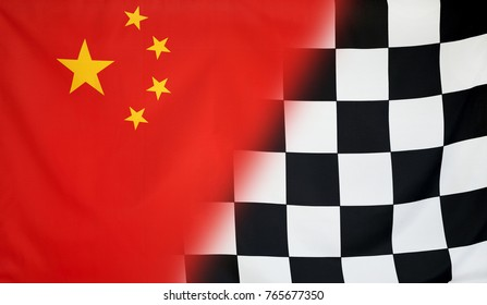 Winning concept consisting of the China and checkered goal flag merging each other