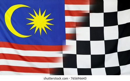 Winning concept consisting of the Malaysia and checkered goal flag merging each other
