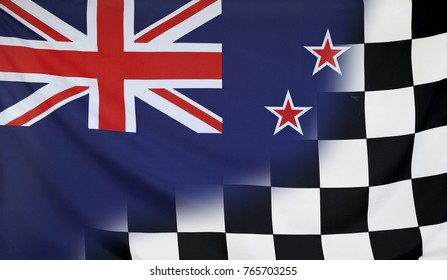 Winning concept consisting of the New Zealand and checkered goal flag merging each other