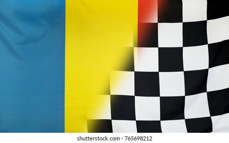 Winning concept consisting of the Romania and checkered goal flag merging each other