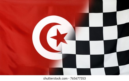 Winning concept consisting of the Tunesia and checkered goal flag merging each other
