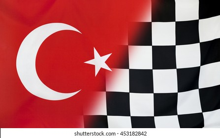 Winning concept consisting of the Turkey and checkered goal flag merging each other