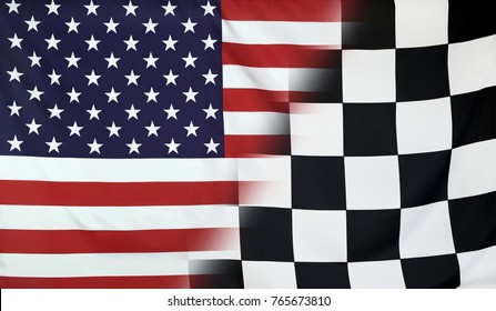 Winning concept consisting of the USA and checkered goal flag merging each other
