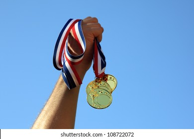 Winning gold medals