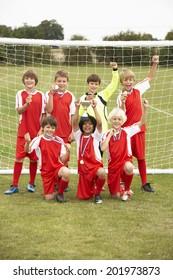 Winning junior football team portrait