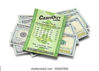 Winning Lottery Ticket and Cash Isolated on White Background.