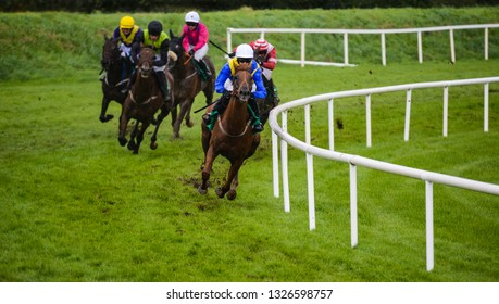 Winning Race horse and jockey taking the lead on the final furlongs of the race