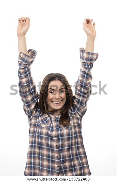 Winning success woman happy