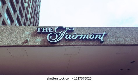 WINNIPEG, CANADA - AUGUST, 2018: The concrete awning on the Fairmont Hotel at Portage and Main.