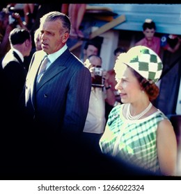 WINNIPEG, CANADA - JULY 12, 1970: Queen Elizabeth II and Prince Philip visit Winnipeg, Canada in 1970 and attend a celebration for the 100th anniversary of the province's entry into Confederation.