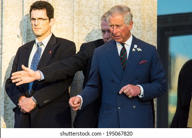 WINNIPEG, CANADA - MAY 21,2014: Charles, Prince of Wales exits Manitoba Legislative Building after speech to Provincial Assembly, during Canadian Royal Tour.