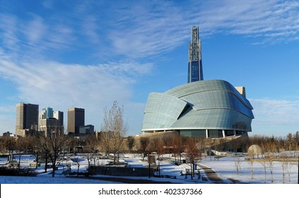 Winnipeg downtown cityscape. Winter view on Canadian Museum for Human Rights seen from The Forks park. Winnipeg, Manitoba, Canada. 2014/11/22