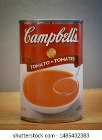 Winnipeg, Manitoba - August 22, 2019:  Close-up of Campbell's Tomato soup can.  Campbell's is an American company with over 120 products worldwide.