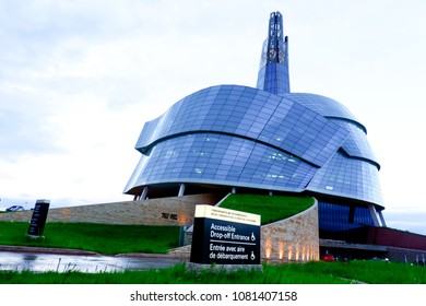 Winnipeg Manitoba Canada 2017. March 20th 2017. Canadian museum for human rights located in the forks' Park Winnipeg in spring field.