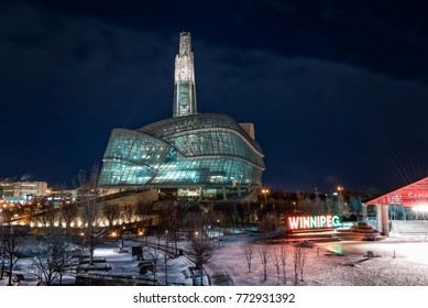Winnipeg, Manitoba, Canada - December 7, 2017: The Canadian Museum of Human Rights