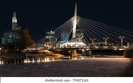 Winnipeg, Manitoba, Canada - December 7, 2017: The Provencher Bridge has a restaurant located in the middle of it, making it unique.