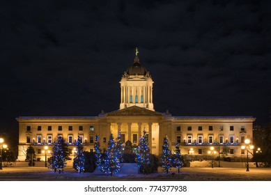 Winnipeg, Manitoba, Canada - December 7, 2017: Winnipeg Legislative building decorated for Christmas