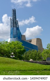 Winnipeg, Manitoba / Canada - July 13 2019: Canadian Museum for Human Rights at The Forks Historical Site