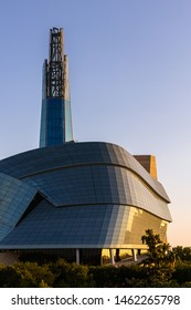 Winnipeg, Manitoba, Canada - July 16, 2019: Close-up shot of the Canadian Museum of Human Rights during sunrise