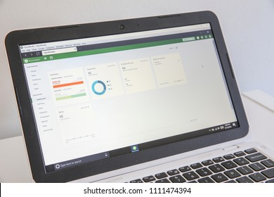 Winnipeg, Manitoba / Canada - June 12, 2018: QuickBooks software displayed on laptop. Accounting Software. Screen Close-up.
