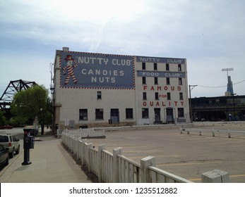 Winnipeg, Manitoba, Canada - June 1st, 2014:  The iconic 'Nutty Club's Can-D-Man' building in downtown Winnipeg, Manitoba, Canada.  The building has been listed as historic and still produces candy.