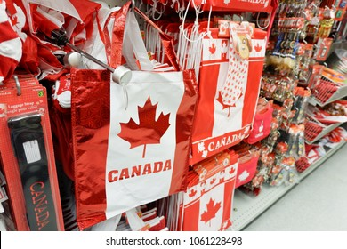 Winnipeg Manitoba Canada, June 28th 2017. Hand bag,luggage strap and other souvenirs for decorating in Canada Day. You can find everything in Dollarama where is the best shop in Canada.