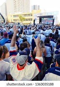 Winnipeg, Manitoba / Canada - May 12 2018: Fans celebrating at the Winnipeg Jets Whiteout Street Party during the NHL Stanley Cup Playoffs