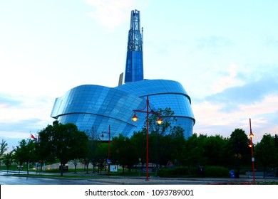 Winnipeg Manitoba Canada. May 14th 2017. Canadian museum after soggy raining at the forks park.
