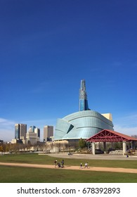 WINNIPEG, MANITOBA - OCT 22 2016: The recently completed Canadian Museum for Human Rights dominates the Winnipeg skyline.