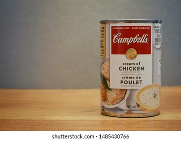 Winnipeg, Manitoba-August 22, 2019:  Close-up of a Campbell's Cream of Chicken soup can.  Campbell's is an American company with products in over 120 countries.