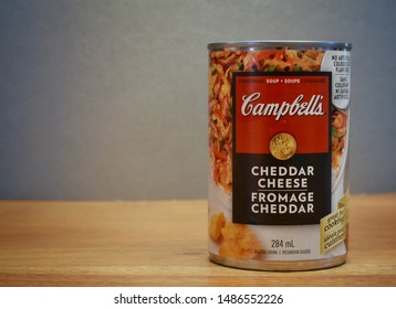 Winnipeg, Manitoba-August 22, 209: Close-up of a Campbell's Cheddar Cheese soup can.  Campbell's is an American company with over 120 products worldwide.