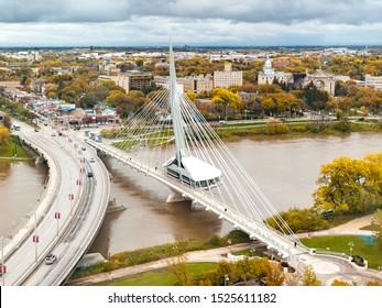 Winnipeg, Manitoba/Canada - Aerial view of the Provencher Bridge (left) and the Esplanade Riel footbridge (right) during autumn season
