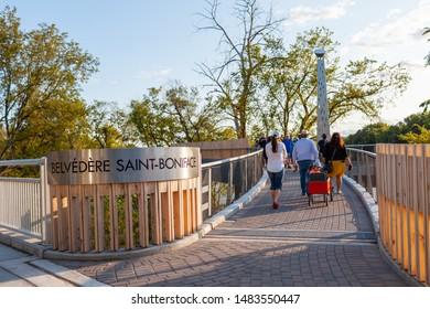 Winnipeg, Manitoba/Canada - August 2019: People walking on the widened Taché Promenade walkway, a pedestrian belvédère — or lookout