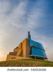Winnipeg, Manitoba/Canada - May 2019: Looking up at the Canadian Museum for Human Rights in Winnipeg, Manitoba at sunrise