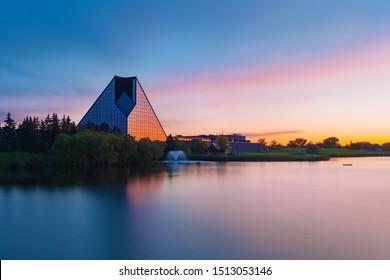 Winnipeg, Manitoba/Canada - September 2019: The Royal Canadian Mint building at sunset