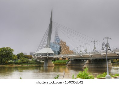 WINNIPEG, MANITOBA/CANADA- SEPTEMBER 26, 2019: The Provencher Bridge and Museum for Human Rights in Canada