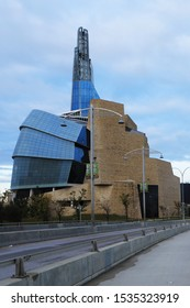 WINNIPEG, MANITOBA/CANADA- SEPTEMBER 26, 2019A Vertical of Museum for Human Rights in Winnipeg, Canada