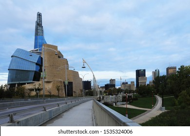 WINNIPEG, MANITOBA/CANADA- SEPTEMBER 26, 2019The Museum for Human Rights and Bridge at dark, Winnipeg