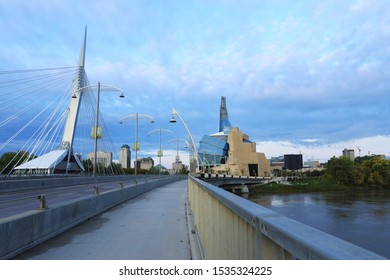 WINNIPEG, MANITOBA/CANADA- SEPTEMBER 26, 2019The Museum for Human Rights and Bridge at dusk, Winnipeg