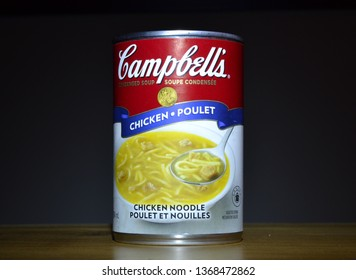 Winnipeg, Manitoba-January 30, 2019: Close up image of Campbell's chicken noodle soup can.  Campbell's is an American company whose products are sold in 120 countries worldwide.